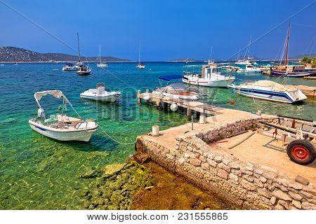 Coast And Beach Of Prvic Island Panoramic Summer View, Sibenik Archipelago Of Croatia