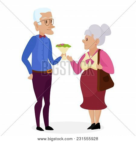 Happy Grandparents. Vector Cartoon Illustration. Grandparents Day. Grandpa And Grandma Standing Full