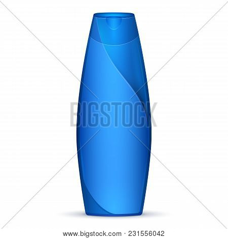 Blue Modern Shampoo Bottle. Products On White Background Isolated. Ready For Your Design. Product Pa