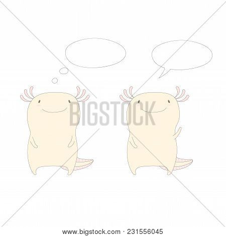 Hand Drawn Vector Illustration Of Two Cute Funny Axolotls Standing, One Waving, In Soft Colours, Wit