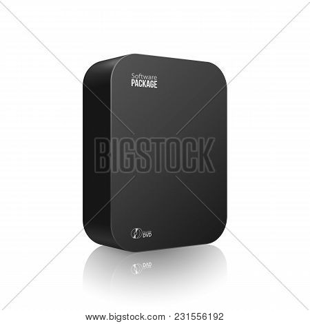Modern Black Software Package Box With Rounded Corners With Dvd Or Cd Disk For Your Product. Vector