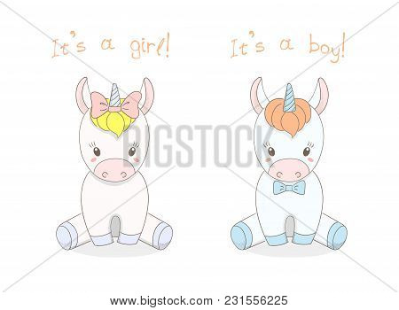 Hand Drawn Vector Illustration Of A Cute Little Baby Unicorns Boy With A Bow Tie And Girl With A Rib