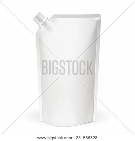White Blank Pack, Foil Food Or Drink Bag Packaging With Spout Lid. Plastic Pack Template Ready For Y