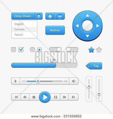 Blue Light User Interface Controls. Web Elements. Website, Software Ui: Buttons, Switchers, Drop-dow