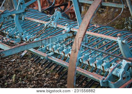 Part Of An Abandoned Old Agricultural Equipment .