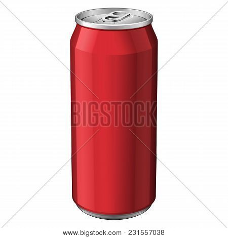 Red Metal Aluminum Beverage Drink Can 330ml. Ready For Your Design. Product Packing Vector Eps10