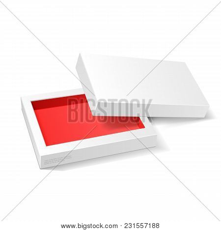 Opened White Red Cardboard Package Mock Up Box. Gift Candy. On White Background Isolated. Ready For
