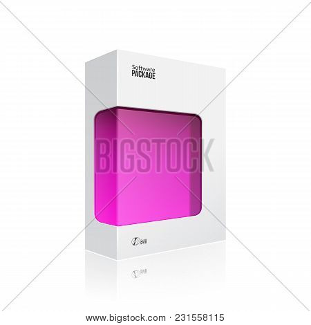 White Modern Software Product Package Box With Pink Violet Purple Magenta Window For Dvd Or Cd Disk