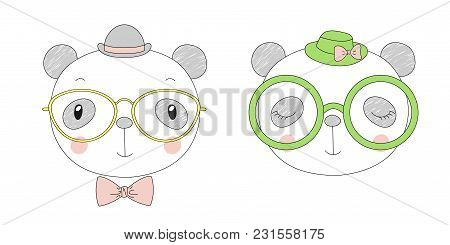 Hand Drawn Vector Portraits Of A Funny Pandas Girl And Boy In Hats And Glasses. Isolated Objects On