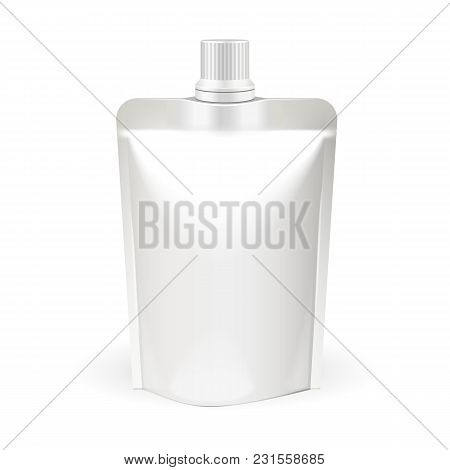 White Blank Doy-pack, Doypack Food Bag Packaging With Spout Lid. Products On White Background Isolat