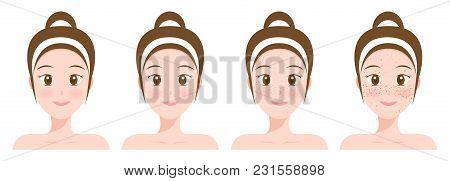 Normal Face And Freckle Face Vector On White
