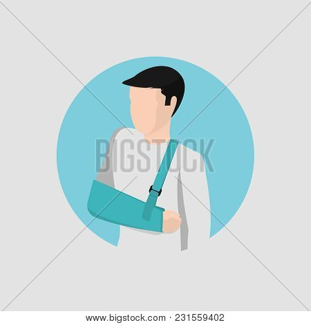 Isometric Icon, Broken Arm Of A Young Guy With A Modern Bandage