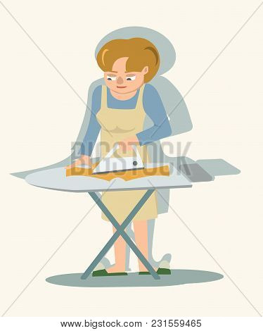 Woman Ironing Kids Clothes - Cute Vector Cartoon Illustration In Flat Style