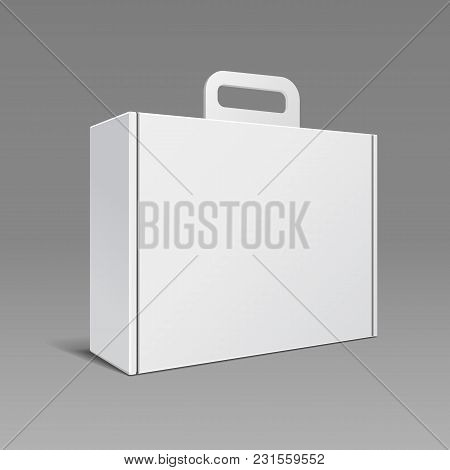Carton Or Plastic White Blank Package Box With Handle. Briefcase, Case, Folder, Portfolio Case. Read