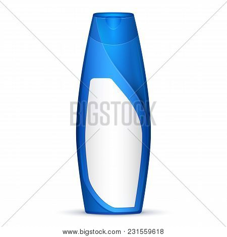 Blue Modern Shampoo Bottle. Products With Lable On White Background Isolated. Ready For Your Design.