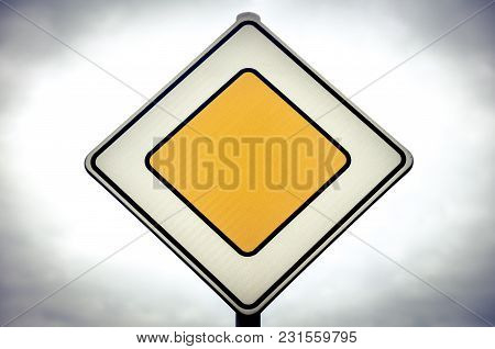 Priority Traffic Or Road Sign Or Signpost On A Road