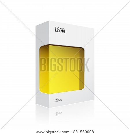 Black Modern Software Product Package Box With Yellow Window For Dvd Or Cd Disk Eps10