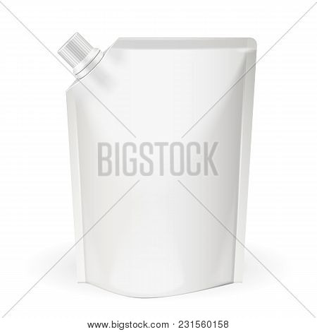 White Blank, Food Bag Packaging With Spout Lid. Products On White Background Isolated. Ready For You