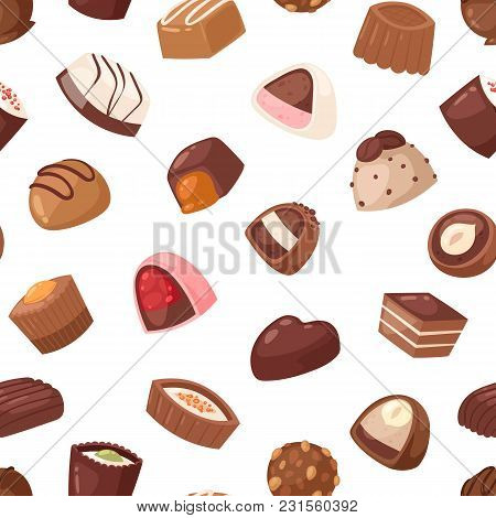 Chocolate Candy Vector Sweet Confection Dessert With Cocoa In Confectionery Shop Illustration Of Tas