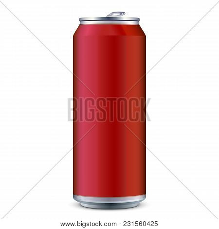 Red Metal Aluminum Beverage Drink Can 500ml. Ready For Your Design. Product Packing Vector Eps10