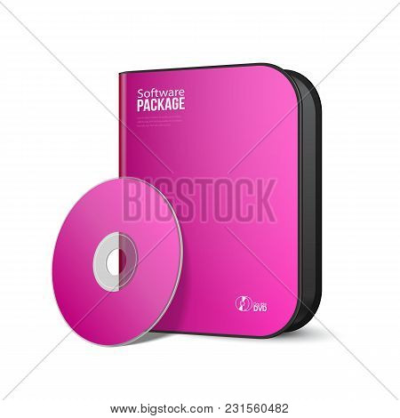 White Pink Violet Purple Rounded Modern Software Package Box With Dvd, Cd Disk Or Other Your Product