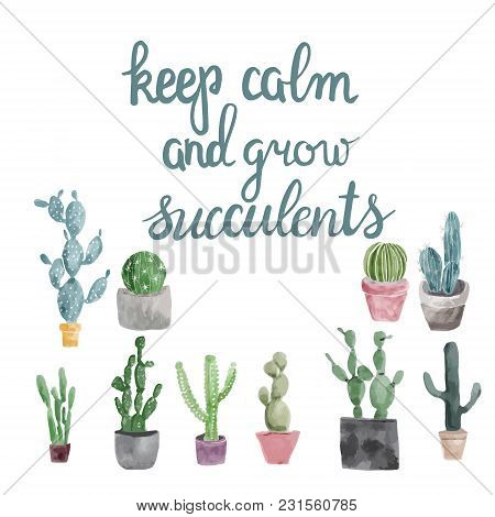 Hand Drawn Set Of Cactus, Succulents And Calligraphy Quote Keep Calm And Grow Succulents .