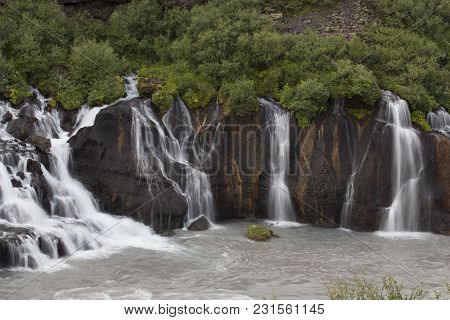Hraunfossar (borgarfjrur, Western Iceland) Is A Series Of Waterfalls Formed By Rivulets Streaming Ov