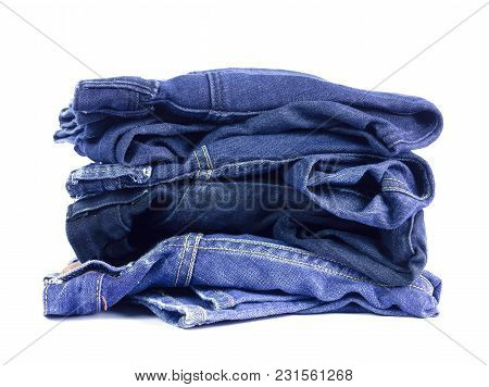 Jeans Denim Isolated On White Background.