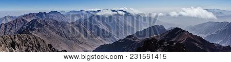 Panorama Of Toubkal And Other Highest Mountain Peaks Of High Atlas Mountains In Toubkal National Par