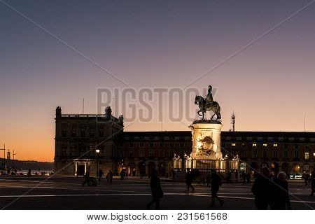 Praça Do Comércio, Important Square Of Lisbon With The King Joseph Equestrian Statue, Portugal, Nigh