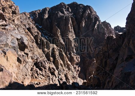 Mountain Peaks Of High Atlas In Toubkal National Park, Morocco, North Africa