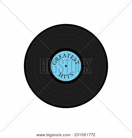 Vinyl Record Illustration With Greatest Hits Text On Disk Label