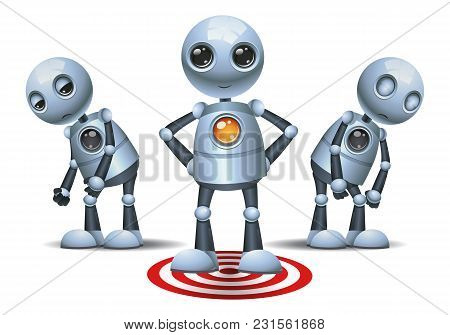 Illustration Of A Happy Droid Little Robot Stand On Target Symbol On Isolated White Background