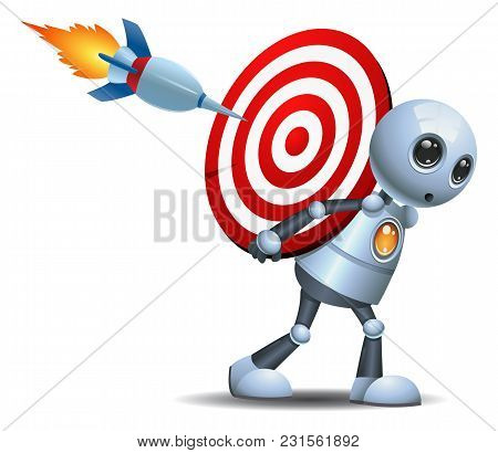 Illustration Of A Droid Little Robot Carry Target Symbol On Isolated White Background