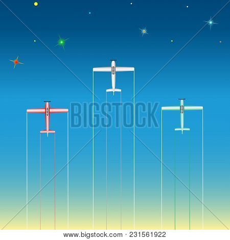Light Aircraft In The Starry Sky. Vector, Illustration