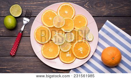 Fresh Citrus, Orange And Lime. Closeup Isolated