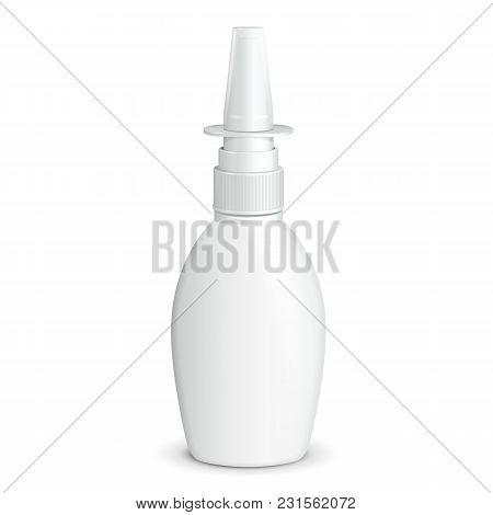 Spray Medical Nasal Antiseptic Drugs Plastic Bottle White. Ready For Your Design. Product Packing Ve