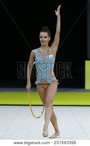Kyiv, Ukraine - March 16, 2018: Rhythmic Gymnast Ekaterina Selezneva Of Russia Performs With Hoop Du