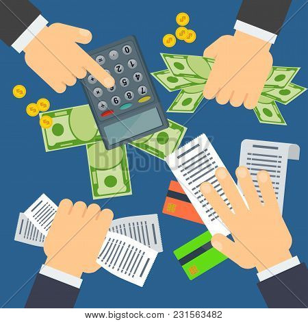 Payment Of Bills Flat Vector Illustration. Money On Table. Hand Keeps Dollars. Calculator, Coins And