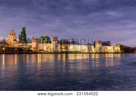 Beautiful View Of Novodevichy Convent Monastery In Moscow, Russia. Unesco World Heritage Site