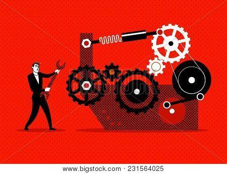 Businessman Repaired Mechanism. Broken Engine. Vector Illustration