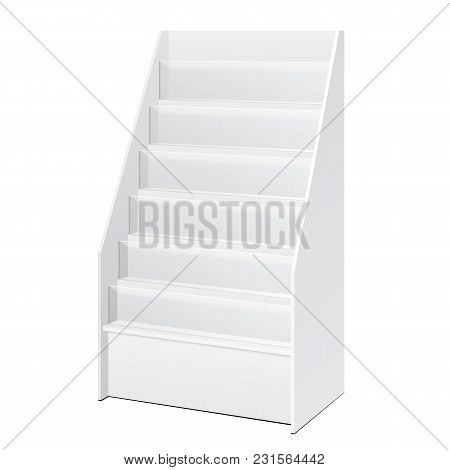Tiered Literature Stand White POS POI Cardboard Floor Display Rack For Supermarket Blank Displays With Shelves. On White Background Isolated. Ready For Your Design. Product Packing. Vector EPS10 poster