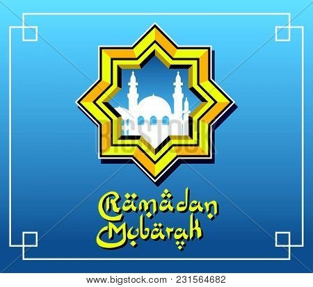Vector Illustration Of Mosque Silhouette In Polygonal Framing. Suitable For Ramadan Greeting Card.