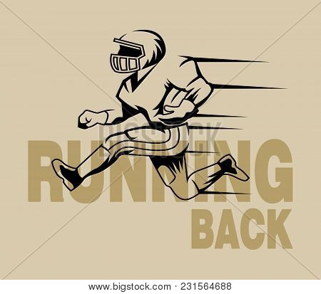 Vector Vintage Illustration Of Runningback. Suitable For Sport Logo