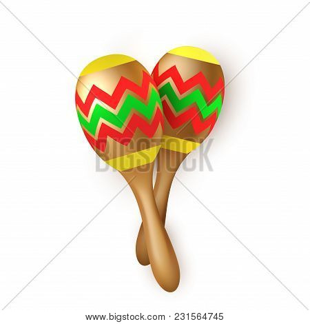 Realistic Mexican Maracas. Wooden Latin Musical Instrument, Culture Festival Party Symbol. Vector Il