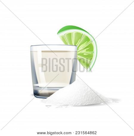 Realistic Tequila Shot With Lime Slice And Salt Powder Heap, Pile. Alcogol Drink Snack. Mexican Trad
