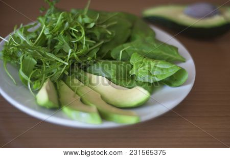 Fresh Clean Healthy Dietetic Summer Food, Spinach And Avocado Salad Close Up