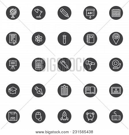 Education And Knowledge Vector Icons Set, Modern Solid Symbol Collection, Filled Style Pictogram Pac
