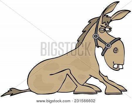 Illustration Of An Angry, Stubborn Tan Donkey With Its Hooves Planted On The Ground.