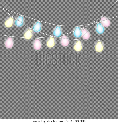 Set Of Overlapping, Glowing String Lights.  Christmas Glowing Lights. Garlands, Christmas Decoration